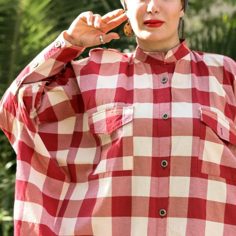 مانتو چهارخونه مدل عبایی