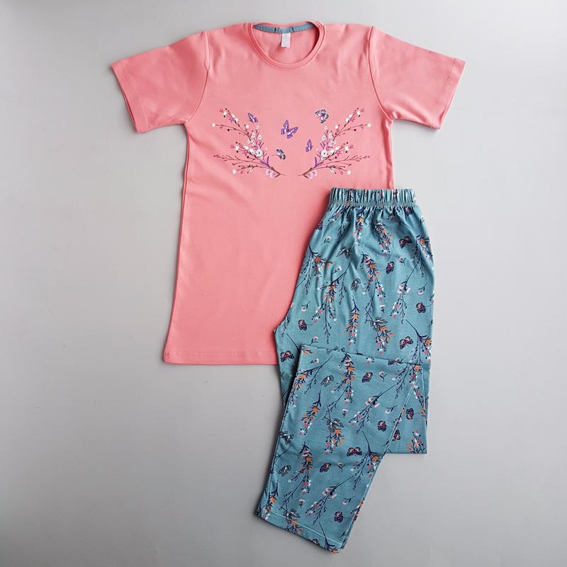 ست راحتی تیشرت و شلوار زنانه طرح گل و پروانه 44856
