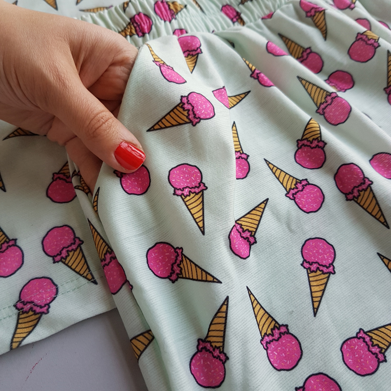 ست تیشرت شورتک زنانه طرح بستنی 47836