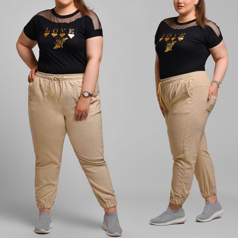 شلوار اسلش کتان کشی زنانه سایز 5XL