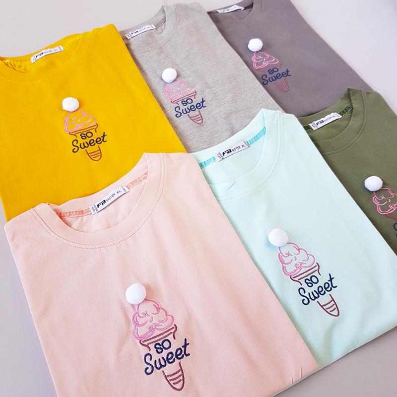 تیشرت زنانه نخ پنبه طرح بستنی 52135